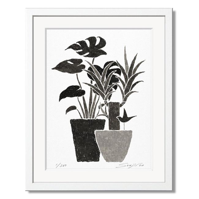 「モンステラとユッカ」藤谷壮仁郎(Soujirou)ジークレー版画作品・ホワイトフレーム四切サイズ(MPシリーズ・MONOCHROME PLANT ART)(絵画通販)【絵のある暮らし】【壁掛けフック付き】