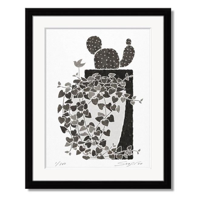 「ハートカズラとサボテン」藤谷壮仁郎(Soujirou)ジークレー版画作品・ブラックフレーム四切サイズ(MPシリーズ・MONOCHROME PLANT ART)(絵画通販)【絵のある暮らし】【壁掛けフック付き】