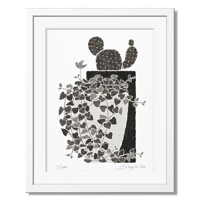 「ハートカズラとサボテン」藤谷壮仁郎(Soujirou)ジークレー版画作品・ホワイトフレーム四切サイズ(MPシリーズ・MONOCHROME PLANT ART)(絵画通販)【絵のある暮らし】【壁掛けフック付き】