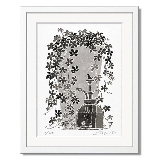 「シュガーバインと霧吹き」藤谷壮仁郎(Soujirou)ジークレー版画作品・ホワイトフレーム四切サイズ(MPシリーズ・MONOCHROME PLANT ART)(絵画通販)【絵のある暮らし】【壁掛けフック付き】