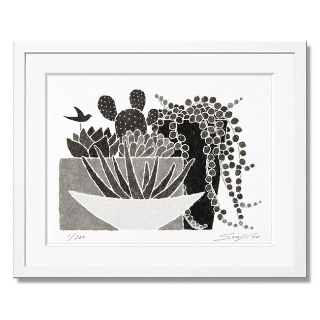 「サンセベリアと多肉植物とグリーンネックレス」藤谷壮仁郎(Soujirou)ジークレー版画作品・ホワイトフレーム四切サイズ(MPシリーズ・MONOCHROME PLANT ART)(絵画通販)【絵のある暮らし】【壁掛けフック付き】