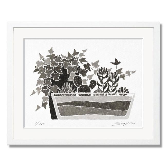 「アイビーと多肉植物」藤谷壮仁郎(Soujirou)ジークレー版画作品・ホワイトフレーム四切サイズ(MPシリーズ・MONOCHROME PLANT ART)(絵画通販)【絵のある暮らし】【壁掛けフック付き】