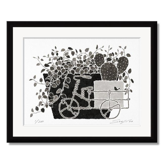 ワイヤープランツとサボテン」藤谷壮仁郎(Soujirou)ジークレー版画作品・ブラックフレーム四切サイズ(MPシリーズ・MONOCHROME PLANT ART)(絵画通販)【絵のある暮らし】【壁掛けフック付き】