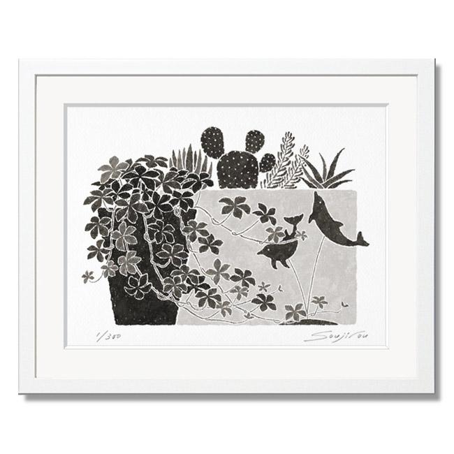 「シュガーバインと多肉植物とイルカの置物」藤谷壮仁郎(Soujirou)ジークレー版画作品・ホワイトフレーム四切サイズ(MPシリーズ・MONOCHROME PLANT ART)(絵画通販)【絵のある暮らし】【壁掛けフック付き】