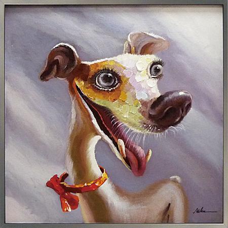 【代引き不可・お届けお時間指定不可】「ファニードッグ」Lサイズ 犬・いぬ・イヌ・動物・ハンドメイド・油絵・オイルペイントモダンアート[絵画通販]【絵のある暮らし】【壁掛けフック付き】