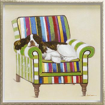「スリーピング」イヌ・いぬ・犬・油絵・ハンドメイド・Mサイズ オイルペイントモダンアート[絵画通販]【絵のある暮らし】【壁掛けフック付き】