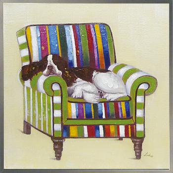 【代引き不可・お届けお時間指定不可】「スリーピング」Lサイズ・犬・イヌ・いぬ・動物・ハンドメイド・油絵・ オイルペイントモダンアート[絵画通販]【絵のある暮らし】【壁掛けフック付き】