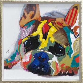 「カラフルブルドッグ」Mサイズ オイルペイントモダンアート[絵画通販]ブルドッグ・犬・いぬ・イヌ・ハンドメイド・油絵・動物・絵【絵のある暮らし】【壁掛けフック付き】