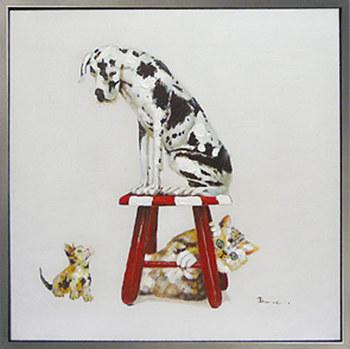 【代引き不可・お届けお時間指定不可】「ベストフレンド3」Lサイズ・ダルメシアン・ハンドペイント・油絵・動物・いぬ・犬・イヌ・ねこ・猫・ネコ・ オイルペイントモダンアート[絵画通販]【絵のある暮らし】【壁掛けフック付き】