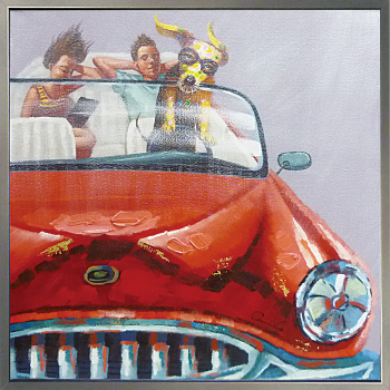 【代引き不可・お届けお時間指定不可】「ドッグドライブ」Lサイズ 犬・ドライブ・いぬ・油絵・ハンドペイント・動物・オイルペイントモダンアート[絵画通販]【絵のある暮らし】【壁掛けフック付き】
