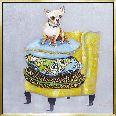 【代引き不可・お届けお時間指定不可】「ドッグ&ソファ」イヌ・いぬ・犬・油絵・ハンドペイント・動物・チワワ・オイルペイントモダンアート[絵画通販]【絵のある暮らし】【壁掛けフック付き】