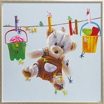 【代引き不可・お届けお時間指定不可】「テディベア&モンキーズ」クマ・熊・くま・テディベア・油絵・サル・さる・ハンドペイント・オイルペイントモダンアート[絵画通販]【絵のある暮らし】【壁掛けフック付き】