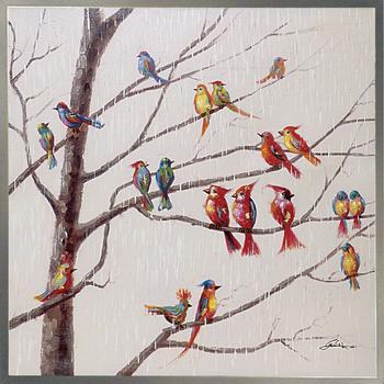 【代引き不可・お届けお時間指定不可】「バードオンブランチ」鳥・とり・絵画・油絵・動物・ハンドメイド・オイルペイントモダンアート[絵画通販]【絵のある暮らし】【壁掛けフック付き】
