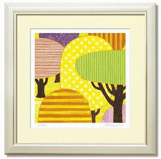 「yellow forest」藤谷壮仁郎(Soujirou)ジークレー版画作品・30角(Aシリーズ・ABSTRACT ART)(絵画通販)【壁掛けフック付き】【絵のある暮らし】