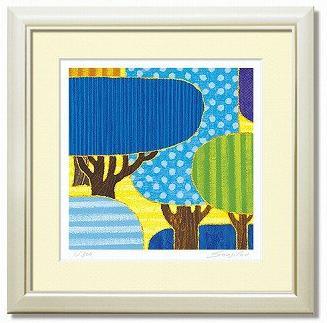 「blue forest」藤谷壮仁郎(Soujirou)ジークレー版画作品・30角(Aシリーズ・ABSTRACT ART)(絵画通販)【壁掛けフック付き】【絵のある暮らし】