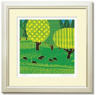「ever green」藤谷壮仁郎(Soujirou)ジークレー版画作品・40角(Aシリーズ・ABSTRACT ART)(絵画通販)【壁掛けフック付き】【絵のある暮らし】