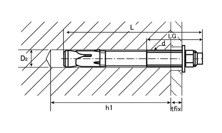 HSA-アンカー(HSA−R)材質(SUS316)規格(M12X115)入数(25)