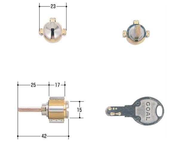 玄関取替交換用シリンダーGOAL D-PZ CAP-3 シルセット