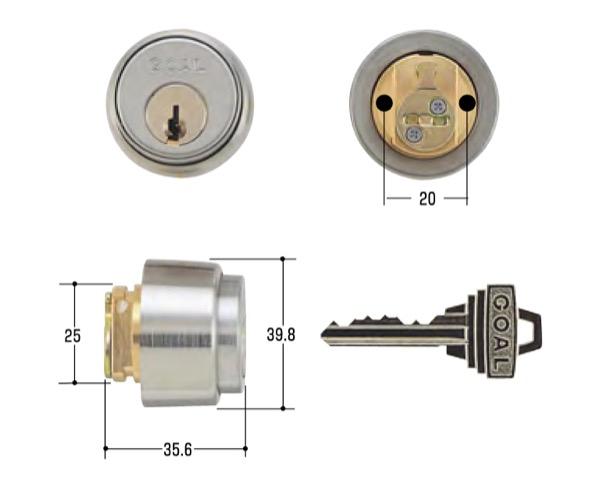 玄関取替交換用シリンダーGOAL PS-・PSD(BS38) 1052・1503
