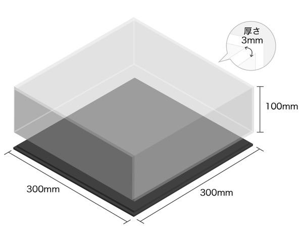 【オーダー品・キャンセル返品不可】透明アクリルケース底黒付6面 100×300×300 厚3mm 【光】
