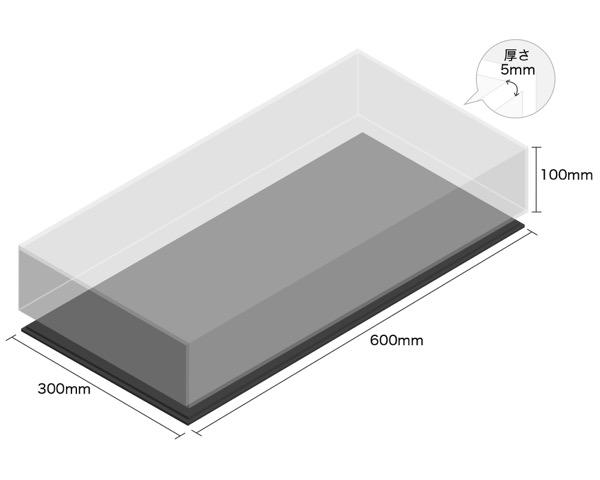 【オーダー品・キャンセル返品不可】透明アクリルケース底黒付6面 100×300×600 厚5mm 【光】