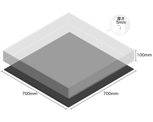 【オーダー品・キャンセル返品不可】透明アクリルケース底黒付6面 100×700×700 厚5mm 【光】