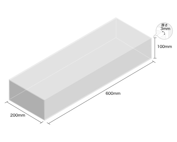 【オーダー品・キャンセル返品不可】透明アクリルケース 5面 100×200×600 厚3mm 【光】
