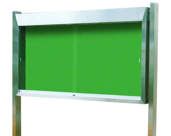 ステンレス屋外掲示板(2本脚型)シリンダー錠式 LED照明付 SK-2030-LED【神栄ホームクリエイト】※返品不可