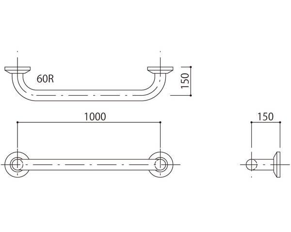 補助手摺(樹脂被覆付) 標準取付タイプ(B・D・G)ブラウン SK-290RJ-100150【神栄ホームクリエイト】