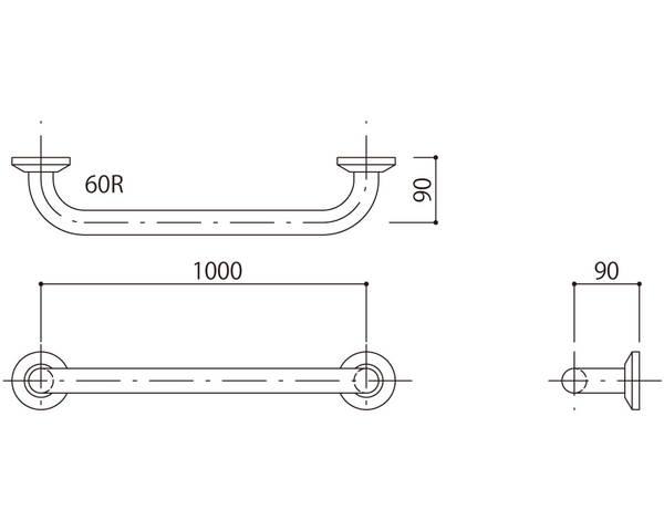補助手摺(樹脂被覆付) 標準取付タイプ(B・D・G)ブラウン SK-290RJ-10090【神栄ホームクリエイト】