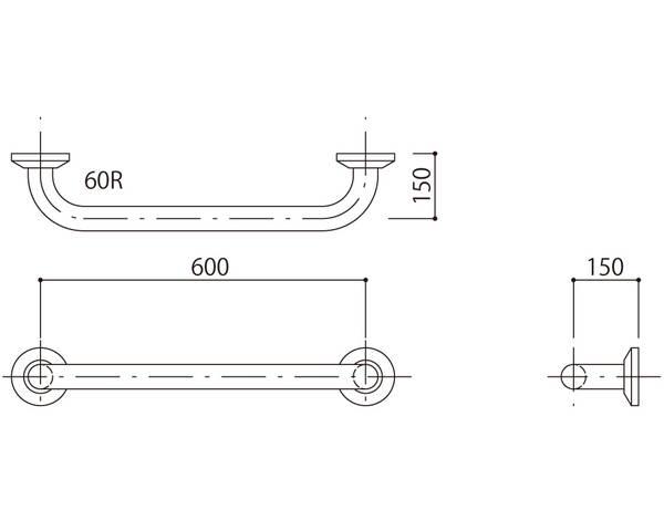 補助手摺(樹脂被覆付) 標準取付タイプ(B・D・G)アイボリー SK-290RJ-60150【神栄ホームクリエイト】