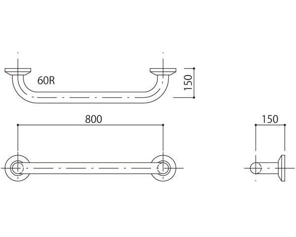 補助手摺(樹脂被覆付) 標準取付タイプ(B・D・G)グリーン SK-290RJ-80150【神栄ホームクリエイト】