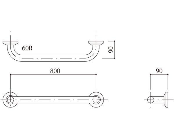 補助手摺(樹脂被覆付) 標準取付タイプ(B・D・G)グリーン SK-290RJ-8090【神栄ホームクリエイト】