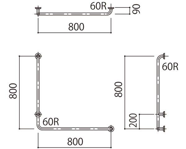 補助手摺(樹脂被覆付) 標準取付タイプ(B・D・G)左勝手ピンク SK-295RJ-800x800【神栄ホームクリエイト】