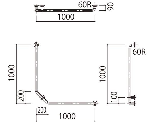補助手摺(樹脂被覆付) 標準取付タイプ(B・D・G)左勝手ブラウン SK-297RJ-1000x1000【神栄ホームクリエイト】