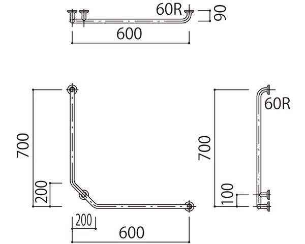 補助手摺(樹脂被覆付) 標準取付タイプ(B・D・G)左勝手木目調 SK-297RJ-600x700【神栄ホームクリエイト】