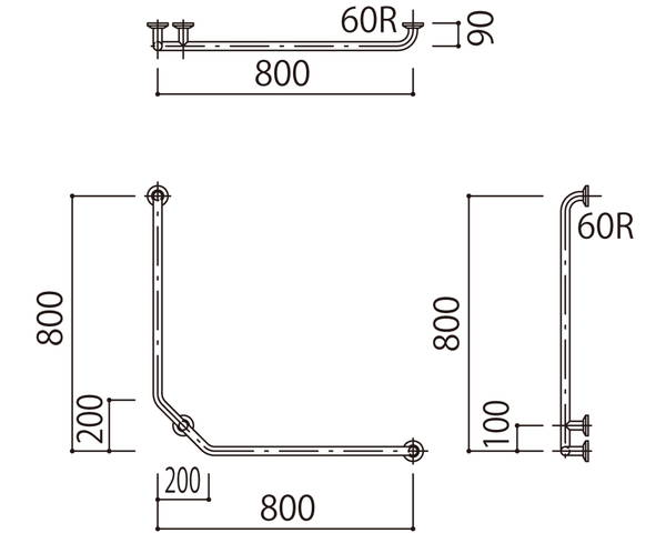 補助手摺(樹脂被覆付) 標準取付タイプ(B・D・G)右勝手グリーン SK-297RJ-800x800【神栄ホームクリエイト】