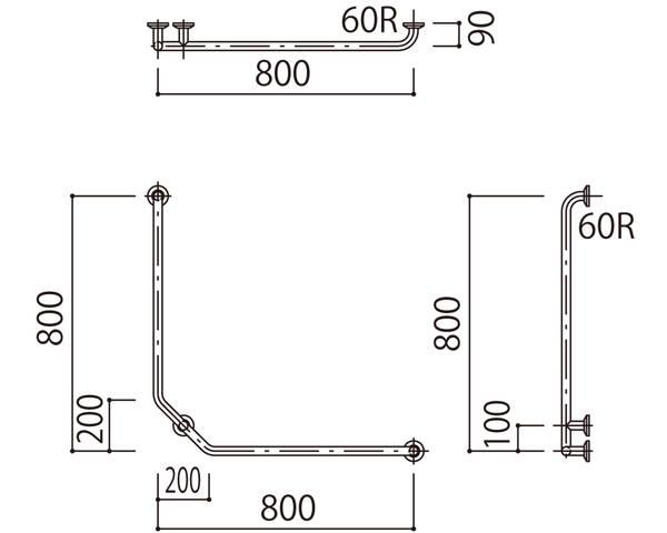 補助手摺(樹脂被覆付) 標準取付タイプ(B・D・G)右勝手ブラウン SK-297RJ-800x800【神栄ホームクリエイト】