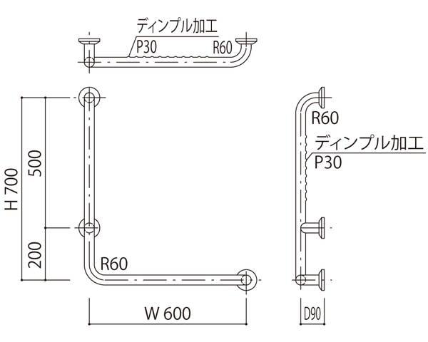 補助手摺(樹脂被覆・ディンブル加工付) 標準取付タイプ(B・D・G)左勝手ブラウン SK-295RJDP-600x700【神栄ホームクリエイト】