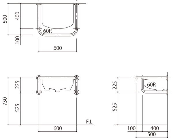 バリアフリー手摺 洗面・手洗器用(樹脂被覆)標準取付タイプ(B・D・G)アイボリー SK-256S-RJ【神栄ホームクリエイト】