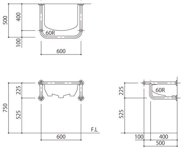 バリアフリー手摺 洗面・手洗器用(樹脂被覆)標準取付タイプ(B・D・G)ベージュ SK-256S-RJ【神栄ホームクリエイト】