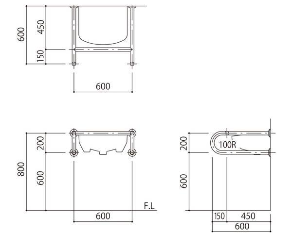バリアフリー手摺 洗面・手洗器用(樹脂被覆)標準取付タイプ(B・D・G)アイボリー SK-257S-RJ【神栄ホームクリエイト】
