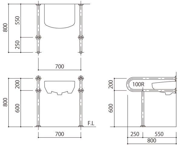 バリアフリー手摺 洗面・手洗器用(樹脂被覆)標準取付タイプ(B・D・G)アイボリー SK-259S-RJ【神栄ホームクリエイト】