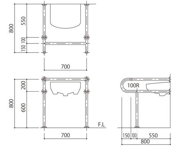 バリアフリー手摺 洗面・手洗器用(樹脂被覆)標準取付タイプ(B・D・G)ピンク SK-261S-RJ【神栄ホームクリエイト】