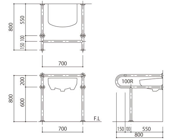 バリアフリー手摺 洗面・手洗器用(樹脂被覆)標準取付タイプ(B・D・G)ブラウン SK-261S-RJ【神栄ホームクリエイト】