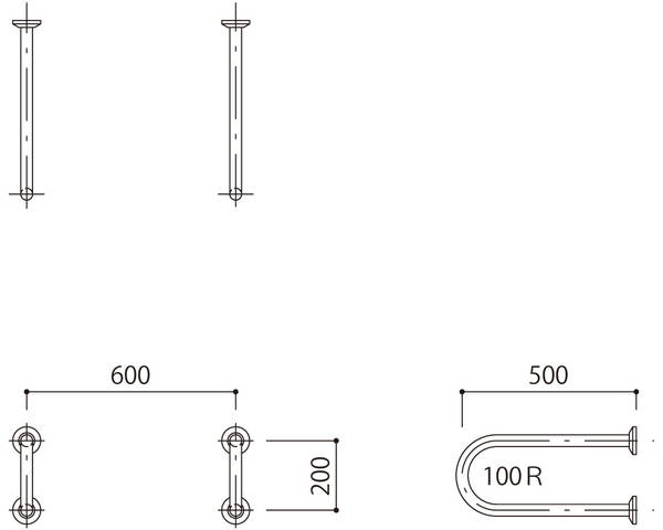 バリアフリー手摺 洗面・手洗器用(樹脂被覆)標準取付タイプ(B・D・G)ブラウン SK-285SR-RJ【神栄ホームクリエイト】