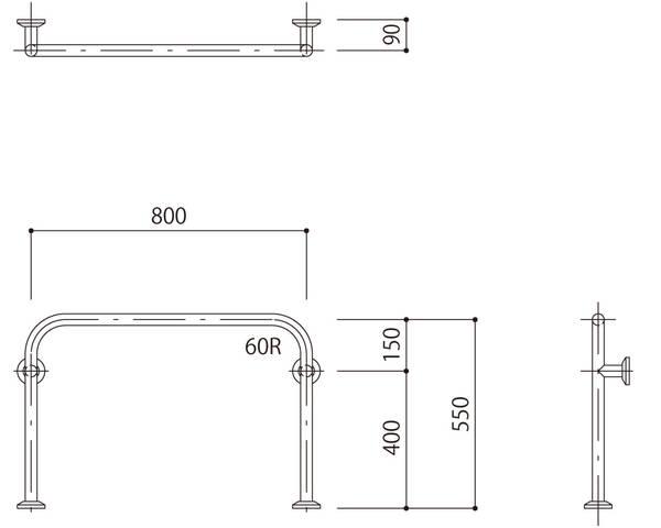 バリアフリー手摺 玄関用(樹脂被覆)標準取付タイプ(B・D・G)ベージュ SK-286SR-RJ【神栄ホームクリエイト】
