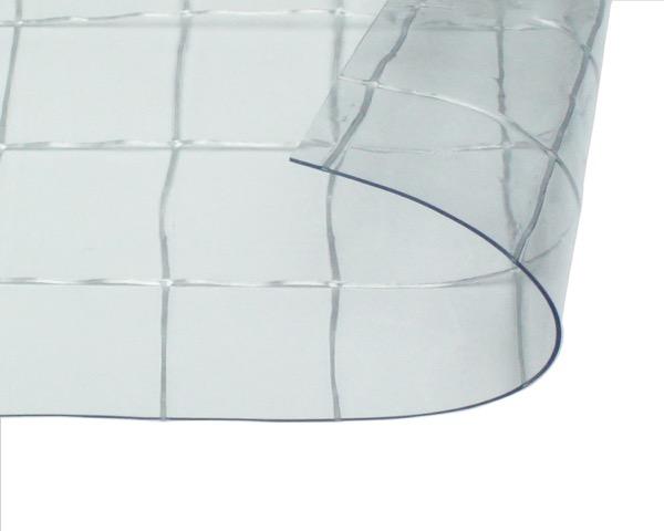 オーダーメイド 屋外、屋内兼用 耐候 ビニールカーテン 0.55mm厚 製作幅6,010mm~8,000mm内 製作高さ1,000mm内 透明 糸入り HE-5560W-04 日中製作所