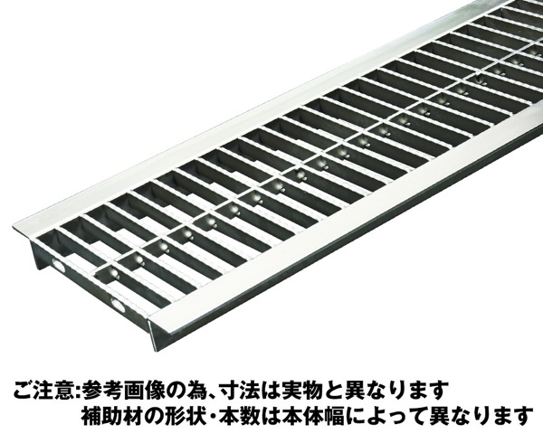 OSU4-NS 15-24Bステンレス製U字溝用グレーチング中間目プレーンタイプ【奥岡製作所】