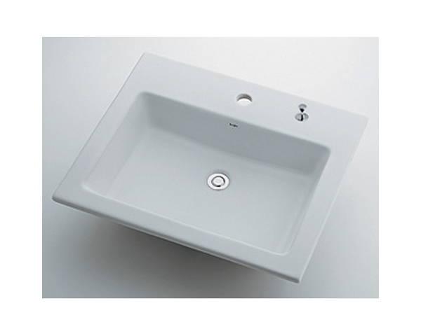 角型洗面器1ホール・ポップアップ穴付 493-008H【カクダイ】